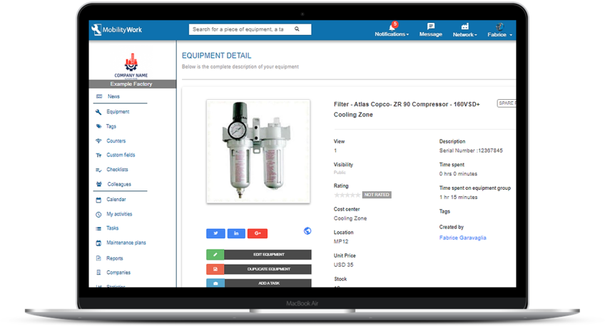 Spare parts, stock and inventory management in your CMMS Software